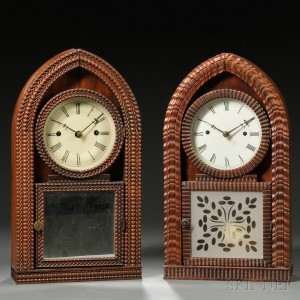Two J.C. Brown Rosewood Fusee Ripple-front Beehive Clock
