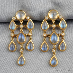 18kt Gold Moonstone And Diamond Earpendants Temple St Clair