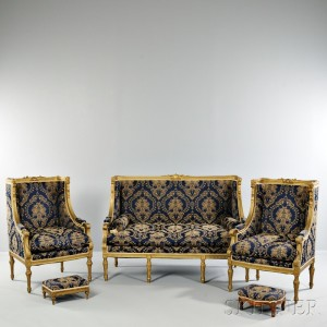 Louis XVI-style Giltwood Seating Suite