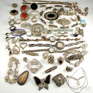 Group of Sterling Silver and Silver-tone Marcasite Jewelry