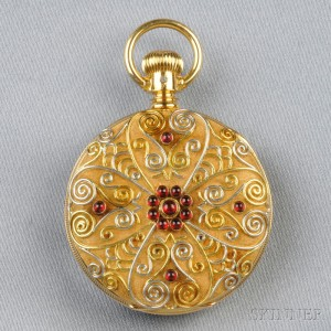 Antique 18kt Gold and Garnet Pocket Watch, American Waltham Watch Co.