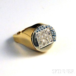 14kt Gold, Diamond, and Zirconia Ring