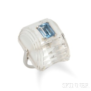 Art Deco Rock Crystal and Spinel Ring