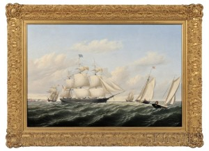 Sold for: $248,000 - William Bradford (American, 1823-1892)      The Whaleship Speedwell of Fairhaven Outward Bound off Gay Head  , 1853.