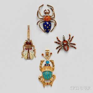 Four Gold Insect Pendants