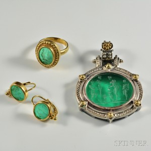 Group of Green Glass Intaglio Jewelry