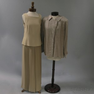 Giorgio Armani Taupe Silk Blend Lady's Blouse and Trousers