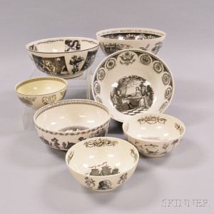 Seven Wedgwood Queen's Ware Transfer-decorated Bowls