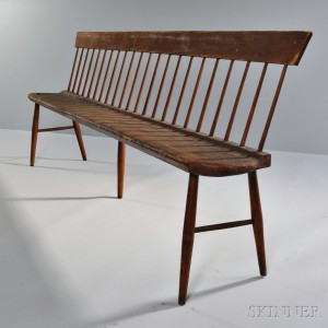 Shaker Red-stained Pine and Birch Settee
