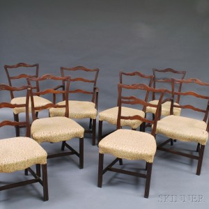 Set Of Eight Chippendale Style Ribbon Back Chairs