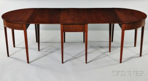 Charming Hepplewhite Style Three Part Drop Leaf Mahogany Dining Table
