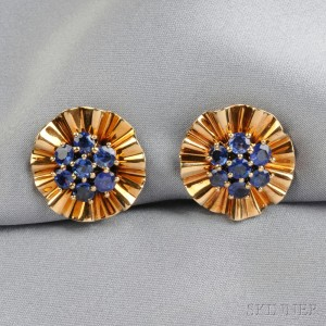 Retro 14kt Gold and Sapphire Earclips, Trabert & Hoeffer-Mauboussin