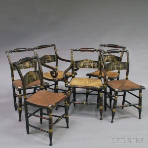 Set Of Six Stencil Decorated Rush Seat Hitchcock Chairs