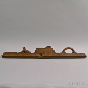 Carved Wood Plane with Punchwork Decoration