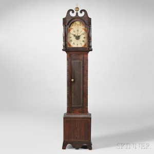 Grain-painted William Leavenworth Wood Movement Tall Clock with Alarm