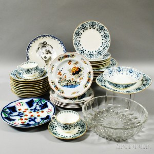 Mintons Partial Dinner Service, Six Wedgwood Lotus Plates, and Val St. Lambert Glass Bowl, and Two Other Plates.