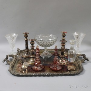 Group of Glass, Silver-plated, and Sterling Tableware