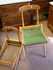 Set Of Four B.J. Harrison Manufacturing Co. Maple And Carpet Upholstered  Folding Chairs