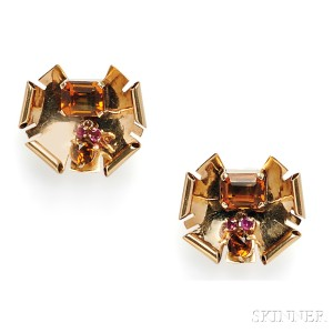 Retro 14kt Gold, Citrine, and Ruby Earclips, Walter Lampl