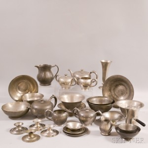 Thirty-two Pieces of Lester H. Vaughan Pewter Tableware