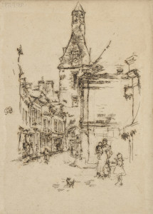 Sold for: $23,700 - James Abbott McNeill Whistler (American, 1834-1903)      Clock-Tower, Amboise