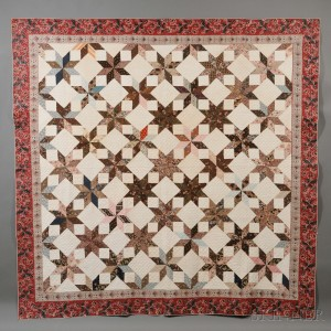 Pieced Chintz and Cotton Fabric Geometric Star Patterned Quilt