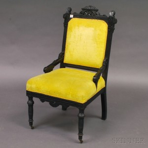 Victorian Eastlake Style Ebonized And Carved Side Chair