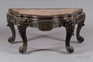 Sold for: $15,405 - Rosewood Demilune Table