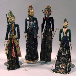 Four Gilt and Polychrome Paint-decorated Wayang Puppets