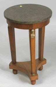 Empire-style Mahogany Ormolu-mounted and Marble-top Gueridon