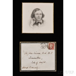 Browning, Elizabeth Barrett (1806-1861) Autograph Letter Signed and   Envelope Addressed and Signed by Robert Browning (1812-1889)