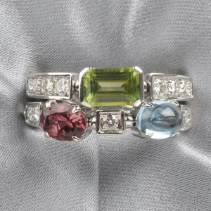 "18kt White Gold Gem-set ""Color Collection"" Ring, Bulgari"