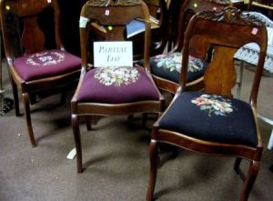 Set Of Six Victorian Needlepoint Upholstered Carved Walnut And Mahogany  Veneer Parlor Side Chairs.