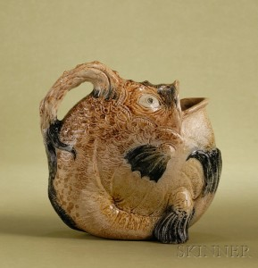 Sold for: $53,325 - Martin Brothers Glazed Stoneware Angler Fish-form Water Jug