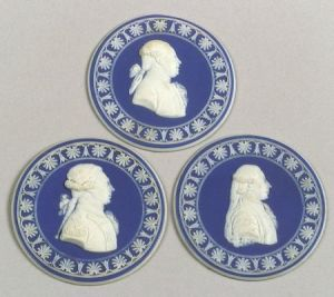 Three Wedgwood Dark Blue Jasper Dip French Revolution Portrait Medallions