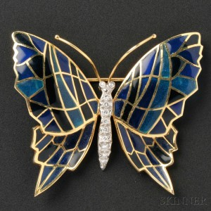 18kt Gold, Plique-a-Jour Enamel, and Diamond Butterfly Brooch, Cartier, Inc.