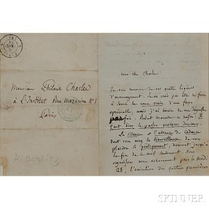 Berlioz, Hector (1803-1869) Autograph Letter Signed, 9 January [1851].