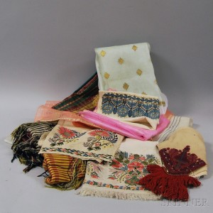 Ten Embroidered Silk and Raw Silk Textiles
