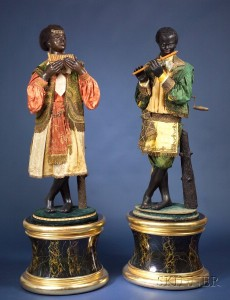 Sold for: $501,000 - Exceptional Pair of Life-Sized Jean Roulet Blackamoore Musician Automata