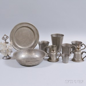 Eleven Pewter Household and Table Items