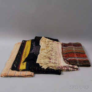 Seven Woven Cotton and Wool Textile Items