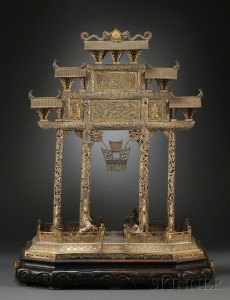Sold for: $34,365 - Large Gold-washed Chinese Silver Model of a Scene at a Gate