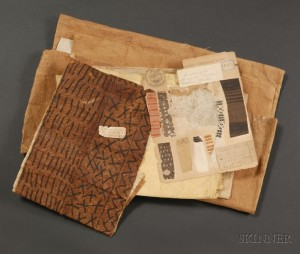 Sold for: $6,463 - Collection of Hawaiian Tapa Cloth Fragments