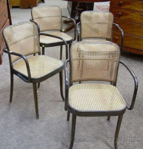 Wonderful Set Of Four Stendig Black Painted Bentwood Armchairs