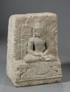Carved Sandstone Image of a Buddha