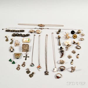 Group of Mostly Sterling Silver Figural Jewelry