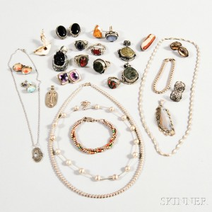 Group of Mostly Sterling Silver and Hardstone Jewelry