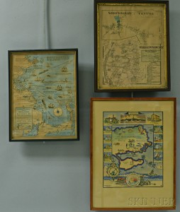 Five Maps of Massachusetts Towns and a Map of Maine