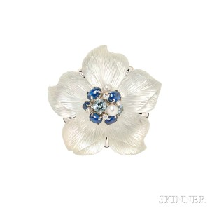 """18kt White Gold and Carved Rock Crystal """"Clematis"""" Brooch, Seaman Schepps"""