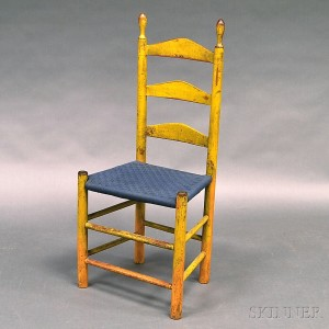 Yellow Painted Tape Woven Ladder Back Side Chair